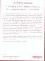 Fabrique De L'Impuissance T2 (La) - 4ème de couverture - Format classique
