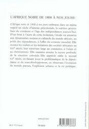 L'afrique noire de 1800 a nos jours (5e édition) - 4ème de couverture - Format classique