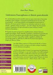 Littératures francophones et théorie postcoloniale - 4ème de couverture - Format classique