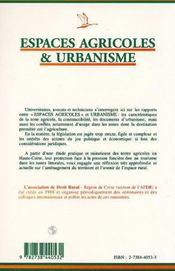 Espaces Agricoles Et Urbanisme - 4ème de couverture - Format classique