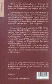 La question d'irlande (édition 2006) - 4ème de couverture - Format classique