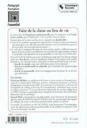 Faire De La Classe Un Lieu De Vie 2eme Edition - 4ème de couverture - Format classique