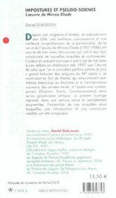 Imposture et pseudo-science ; l'oeuvre de mircea eliade - 4ème de couverture - Format classique