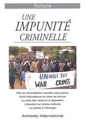 Torture ; une impunité criminelle - Couverture - Format classique