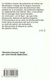 Dictionnaire Des Mots Rares Et Precieux - 4ème de couverture - Format classique