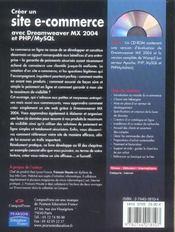Creer un site e-commerce avec dreamweaver mx 2004 et php/mysql - 4ème de couverture - Format classique