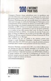 2010, l'internet pour tous ; 15 mesures pour réduire la fracture numérique en France - 4ème de couverture - Format classique
