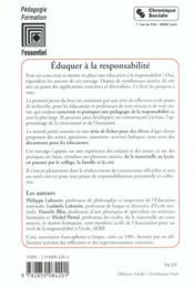 Eduquer A La Responsabilite 2eme Edition - 4ème de couverture - Format classique