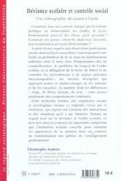Deviance scolaire et controle social - 4ème de couverture - Format classique