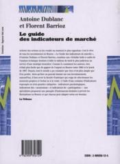 Le guide des indicateur de marché ; une introduction au market timing - 4ème de couverture - Format classique