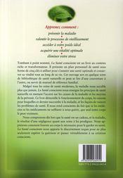 La santé consciente ; guide complet de santé et de guérison naturelle - 4ème de couverture - Format classique