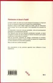 Patrimoine et devoir d'oubli ; quatrièmes rencontres patrimoniales du Périgueux - 4ème de couverture - Format classique