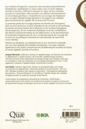 Les maladies émergentes, épidémiologie chez le végétal, l'animal et l'homme - 4ème de couverture - Format classique