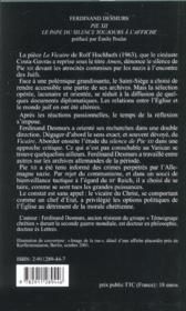 Pie xii - le pape du silence - 4ème de couverture - Format classique