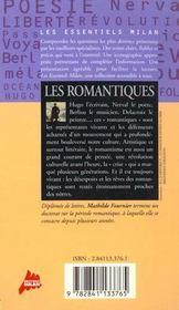 Les romantiques - 4ème de couverture - Format classique