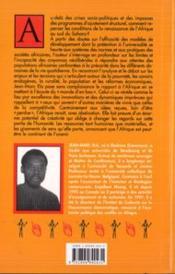 Innovations Sociales Et Renaissance De L'Afrique Noire - 4ème de couverture - Format classique