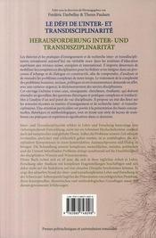 Le défi de l'inter-et transdisciplinarité ; concepts,méthodes et pratiques innovantes dans l'enseignement et la recherche - 4ème de couverture - Format classique