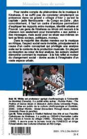 Musique populaire et société à Kinshasa ; une ethnographie de l'écoute - 4ème de couverture - Format classique