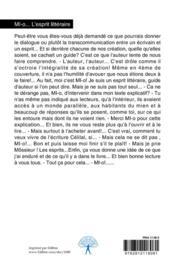 MI-o... l'esprit littéraire - 4ème de couverture - Format classique