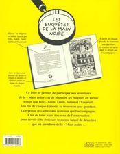 Les enquetes de la main noire - 4ème de couverture - Format classique