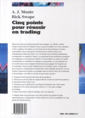 Cinq points pour reussir en trading. la technique des marketguys - 4ème de couverture - Format classique