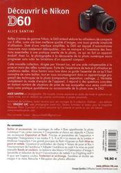 Découvrir le Nikon D60 - 4ème de couverture - Format classique