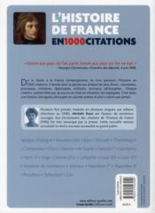 L'histoire de France en 1000 citations , de la Gaule à nos jours - 4ème de couverture - Format classique