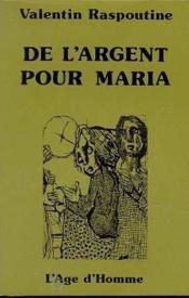 De L'Argent Pour Maria - Couverture - Format classique