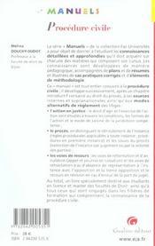 Manuel de procedure civile - 4ème de couverture - Format classique