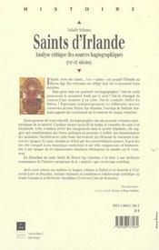 Saints d'irlande analyse critique des sources hagiographiques, viie-ixe siecles - 4ème de couverture - Format classique