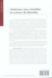 Materiaux non cristallins et sciences dudesordre - 4ème de couverture - Format classique