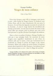 Vosges De Mon Enfance - 4ème de couverture - Format classique