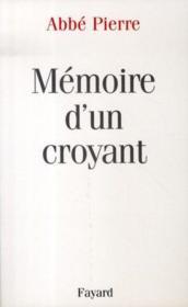 Memoire D'Un Croyant. - Couverture - Format classique