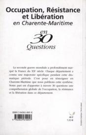 Occupation Resistance Et Liberation En Charente-Maritime - Couverture - Format classique