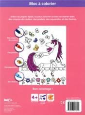 Bloc à colorier ; les licornes - 4ème de couverture - Format classique