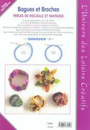 Bagues et broches ; perles de rocaille et fantaisie t.2 - 4ème de couverture - Format classique