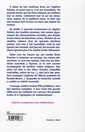 Problèmes et théorèmes d'algèbre linéaire - 4ème de couverture - Format classique