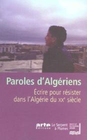 Paroles D'Algeriens - Couverture - Format classique