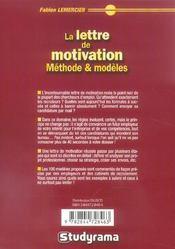 Lettre de motivation : methodes et modeles 4 edt (la) - 4ème de couverture - Format classique