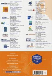 Passerelle Esc 2007 ; Annales Du Concours - 4ème de couverture - Format classique