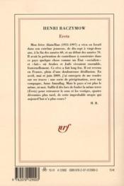 Eretz - 4ème de couverture - Format classique