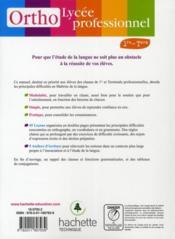 Français ; 1ère/terminale professionnelle bac pro ; maîtrise de la langue en lycée professionnel ; livre de l'élève (édition 2010) - 4ème de couverture - Format classique