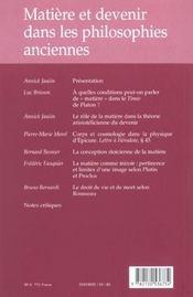 REVUE DE METAPHYSIQUE ET DE MORALE N.2003/1 ; matière et devenir dans les philosophies anciennes - 4ème de couverture - Format classique
