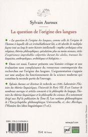 La question de l'origine des langues ; l'historicité des sciences - 4ème de couverture - Format classique