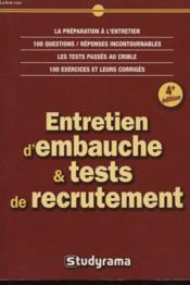 Entretien d'embauche et tests de recrutement (4e edition) - Couverture - Format classique