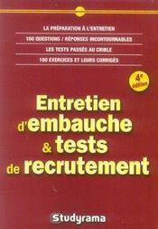 Entretien d'embauche et tests de recrutement (4e edition) - Intérieur - Format classique