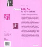 Edith Piaf, la môme de Paris - 4ème de couverture - Format classique