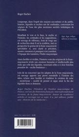 L'invention de la franc-maçonnerie - 4ème de couverture - Format classique