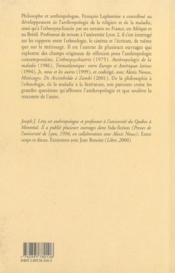 Anthropologies laterales ; entretiens avec francois laplantine - 4ème de couverture - Format classique