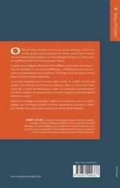 Rencontre avec les différnces entre sexes, sciences et cultures ; en hommage au Professeur Robert Steichen - 4ème de couverture - Format classique